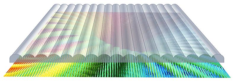 Zeigt die plankonvexe Linsenstruktur über einem berechneten/ interlacten Lentikulardruck.
